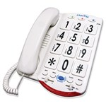 Clarity JV35W Amplified Telephone with Talk Back Numbers, White