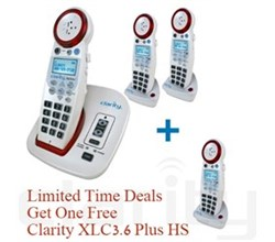Clarity Limited Time Deals clarity xlc3.4+ amplified phone plus 2 handsets. get the third free